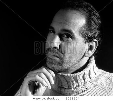 Adult Man Portrait Thinking Expression On Black And White