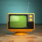 Retro vintage tv on green background. Television concept. 3d poster