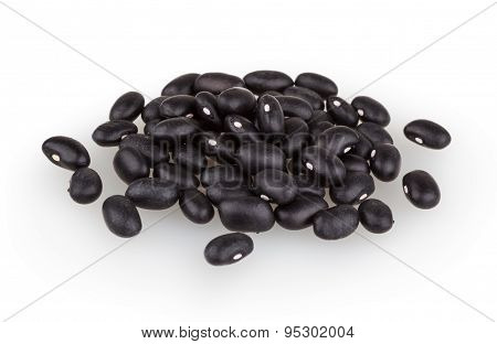 Black Beans Isolated On White Background With Clipping Path
