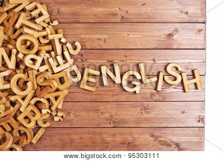 Word english made with wooden letters