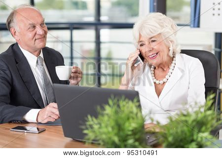 Senior Businesswoman Talking On Mobilephone