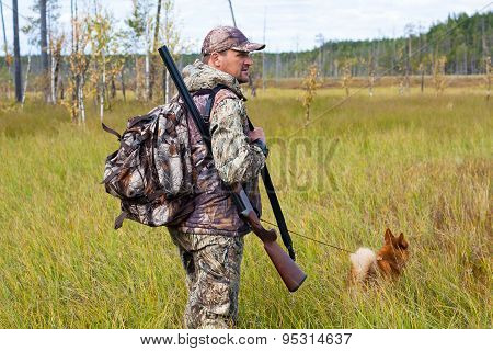 the hunter with dog on the swamp poster