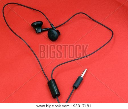 Headphones on red - love music