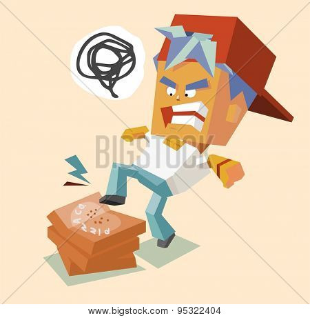 hate angry pizzaman. vector illustration