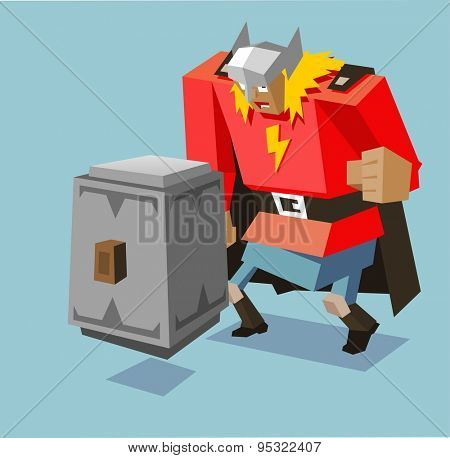 thor with big hammer. vector illustration