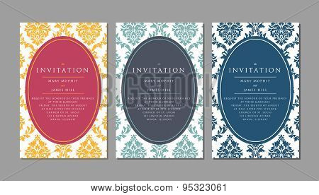 Wedding invitation on damask background. Template framework Wedding invitations or announcements with vintage background artwork