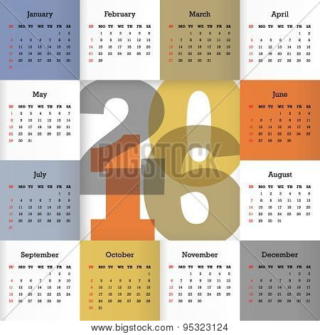 Calendar for 2016. Vector EPS10