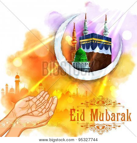 illustration of pair of hand praying for Eid in Eid Mubarak (Happy Eid) background with mosque