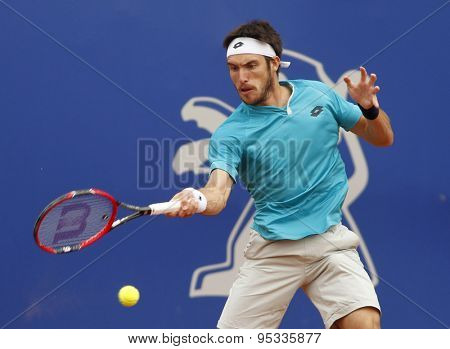 BARCELONA - APRIL, 22: Argentinian tennis player Leonardo Mayer in action during a match of Barcelona tennis tournament Conde de Godo on April 22 2015 in Barcelona