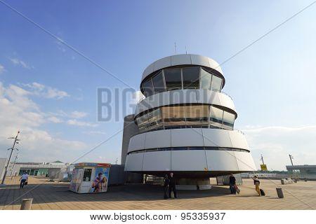 DUSSELDORF - SEP 16: control tower on September 16, 2014 in Dusseldorf, Germany. Dusseldorf Airport is the international airport of Dusseldorf, the capital of the German state North Rhine-Westphalia