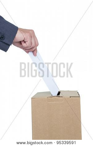 Businessman putting ballot in vote box on white background poster