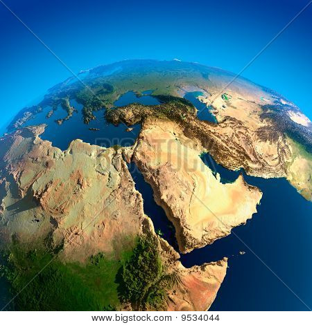 Blick auf den Nahen Osten aus dem Weltraum