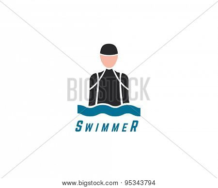 Abstract vector element. Swim, sport, dive club or triatlon logo template. Stock illustration for design