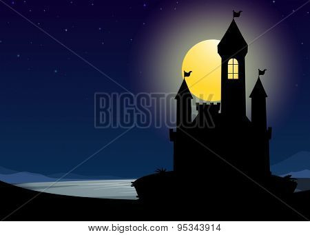 Silhouette castle on fullmoon night