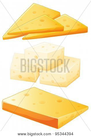 Three different kind of delicious cheese