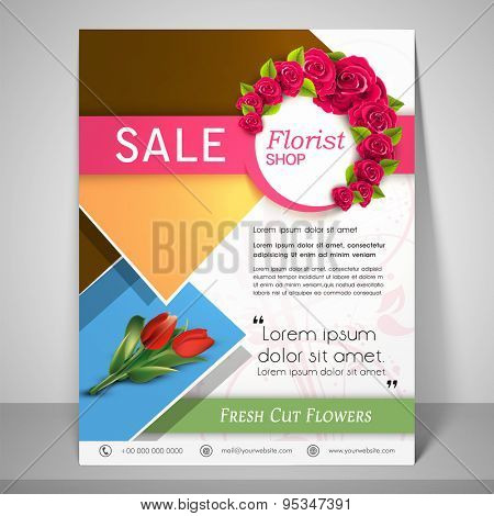 Colourful flyer for sale for florist shop with address bar, and mailer on floral decorated background.