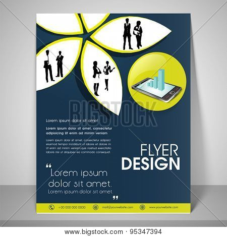 Paper art flyer design for business with images of boy and girl, address bar, place holder and mailer.