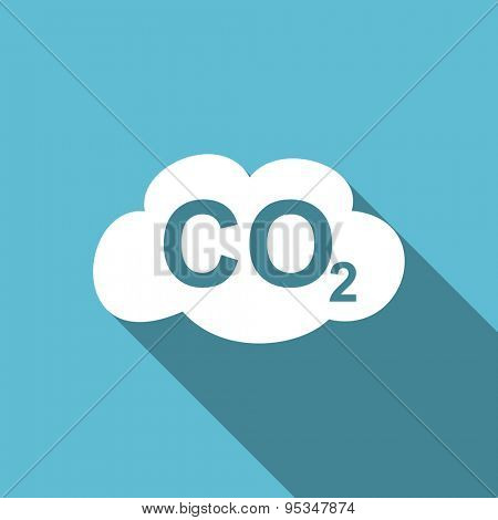carbon dioxide flat icon co2 sign original modern design flat icon for web and mobile app with long shadow