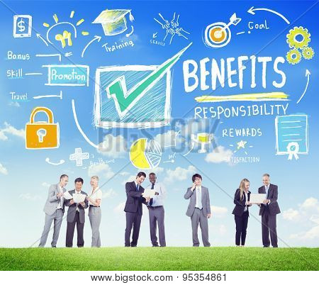 Benefits Gain Profit Earning Income Business Communication Concept poster