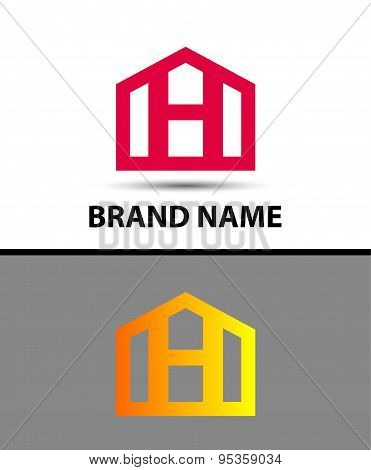 Letter H logo, real estate symbol