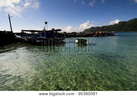 Boats in wharf in Condao island, Vietnam