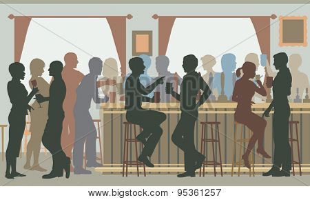 Cutout illustration of people drinking in a busy bar in daylight poster