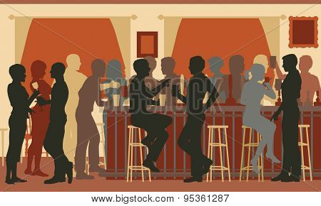 Cutout illustration of people drinking in a busy bar in the evening