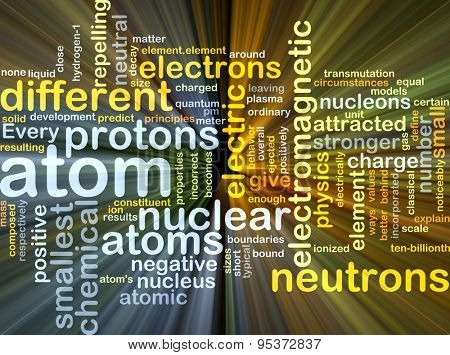 Background concept wordcloud illustration of atom glowing light