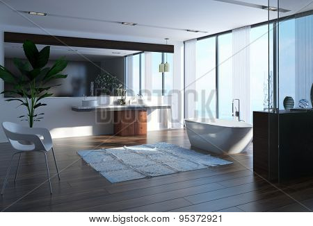 Contemporary bathroom with a modern boat-shaped bathtub in front of a large panoramic floor-to-ceiling view window with a double vanity and mirror on a hardwood floor. 3d Rendering
