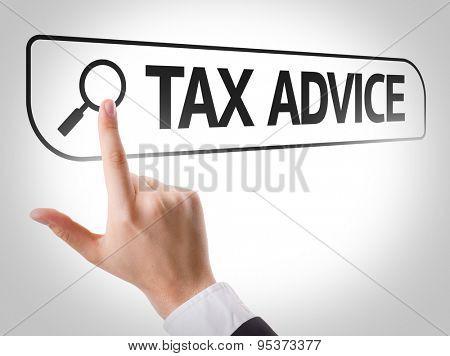 Tax Advice written in search bar on virtual screen