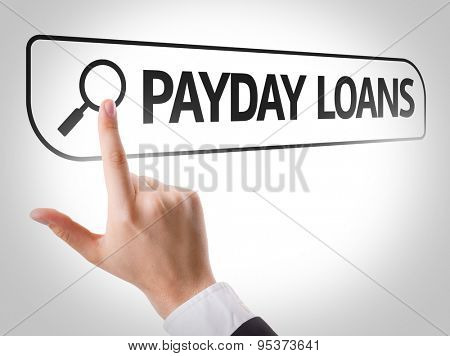 Payday Loans written in search bar on virtual screen