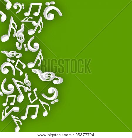 Musical notes in white color on green background.