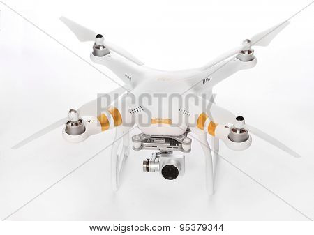 PILSEN CZECH REPUBLIC - JUNE 27, 2015: Drone quadrocopter Dji Phantom 3 Professional with high resolution digital camera (High quality 4K). New tool for aerial photo and video.