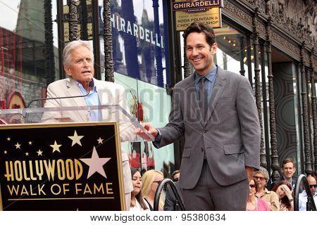 LOS ANGELES - JUL 1:  Michael Douglas, Paul Rudd at the Paul Rudd Hollywood Walk of Fame Star Ceremony at the El Capitan Theater Sidewalk on July 1, 2015 in Los Angeles, CA