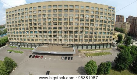 RUSSIA, MOSCOW - JUN 21, 2014: Aerial view of edifice of design office named by Tupolev at summer day. Photo with noise from action camera