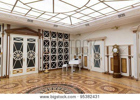 Novi Petrivtsi, Ukraine - May 27, 2015 Mezhigirya residence of ex-president of Ukraine Yanukovich. Luxurious living room