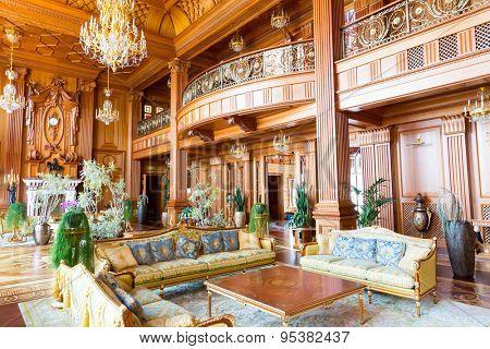 Novi Petrivtsi, Ukraine - May 27, 2015 Mezhigirya residence of ex-president of Ukraine Yanukovich. Main hall of the luxurious