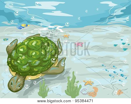 Illustration of a Turtle Idly Swimming Underwater