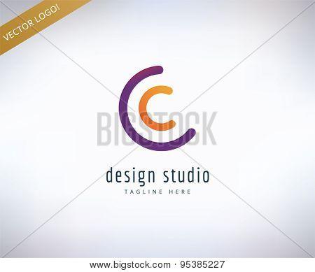 Abstract vector logo element. Stock illustration for design