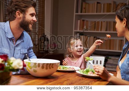Family eating an dinner at a dining table poster