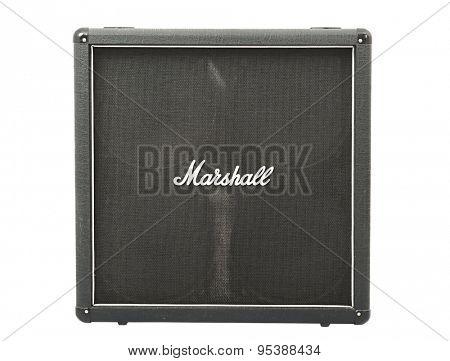 BUDAPEST, HUNGARY - JUNE 22, 2015: Marshall guitar cabinet with 4x12 speakers. Marshall is one of the leading manufacturers of guitar amplification since 1960.