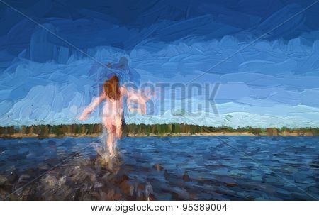 Young girl run to the river