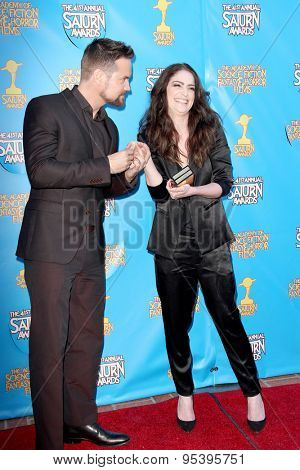 BURBANK - JUNE 25: Shane West and Janet Montgomery arrive at the 41st Annual Saturn Awards on Thursday, June 25, 2015 at the Castaway Restaurant in Burbank, CA.