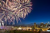 Calgary Stampede fireworks with downtown in the background poster