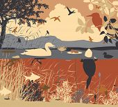 Illustration of diverse wildlife in a freshwater ecosystem poster