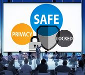Safe Privacy Locked Security Protection Safe Insurance Concept poster
