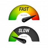 Fast and slow download speedometers. Vector. poster