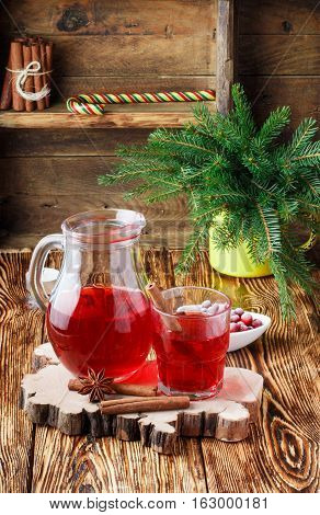 Fresh Cranberry Juice. The Compote. Hot Christmas Drink From The Berries With Cinnamon And Star Anis