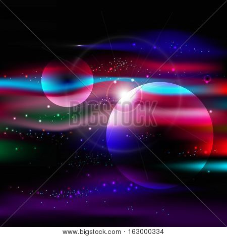 abstract space background with stars nebula, milky way vector illustration eps 10
