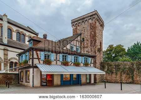 View of Defensive Wall and historical house in Obernai Alsace France